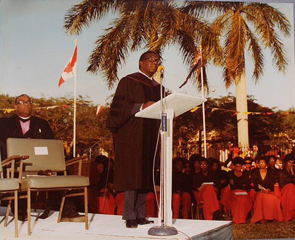 Sir Lynden Pindling, first Prime Minister of The Bahamas, speaks at the Opening Ceremony of the College of The Bahamas in 1977