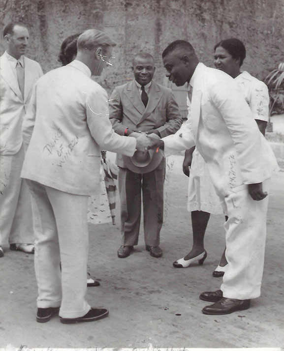 Mr. Ulric Johnson shaking hands with the Duke of Windsor