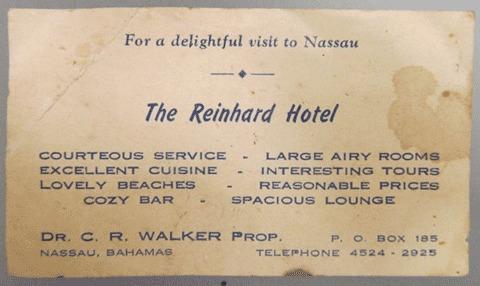 The Reinhard Hotel Business card