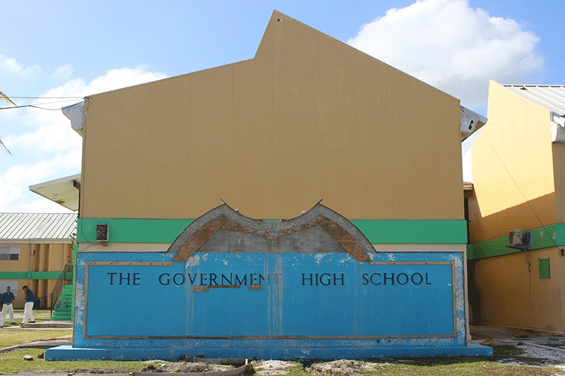 The current Government High School sign  at Yellow Elder Gardens