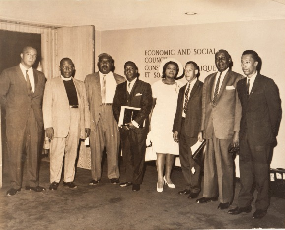 Photo includes: Cecil Wallace Whitfield, Rev. Dr. H.W. Brown, Milo Butler, Lynden Pindling, Doris Johnson, A.D Hanna, Clarence Bain, Arthur Foulkes