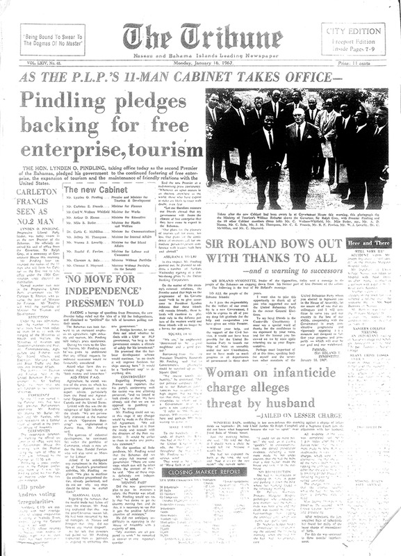 As the PLP's 11-Man Cabinet Takes Office, Pindling Pledges Backing for Free Enterprise, Tourism.