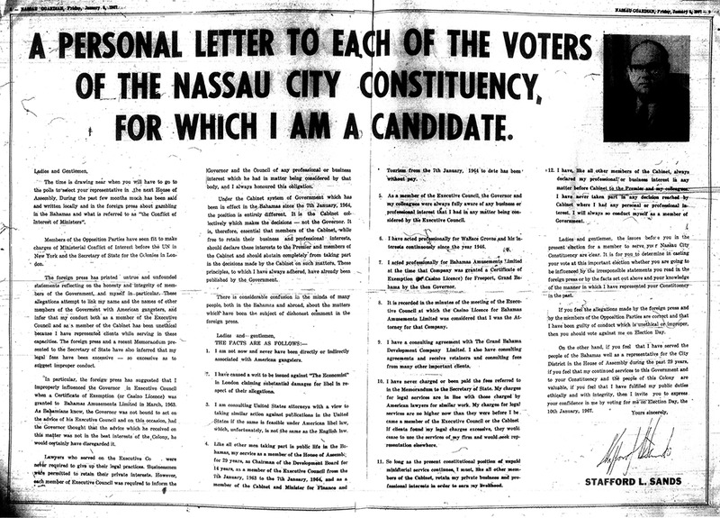 A Personal Letter to Each of the Voters of the Nassau City Constituency, for which I am a Candidate by Stafford L. Sands