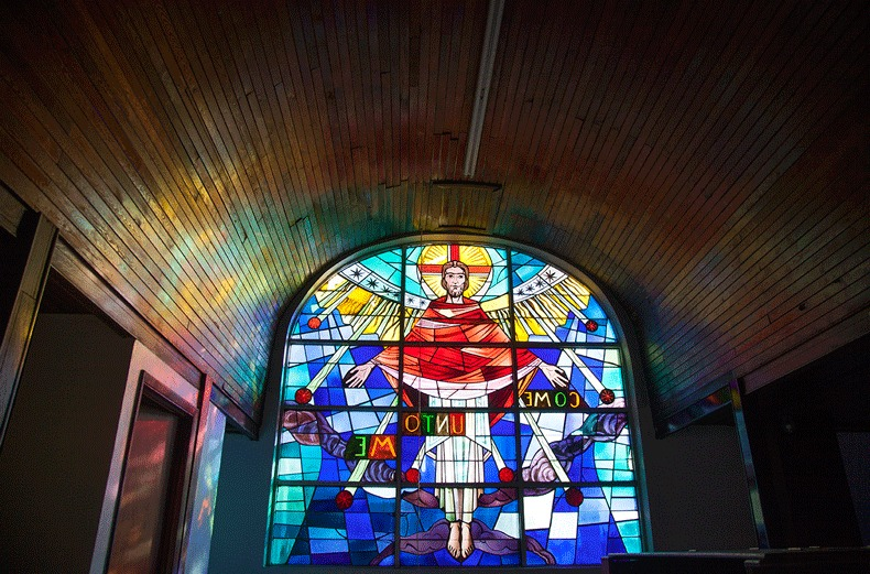 Stained Glass inside of Bethel Baptist Church