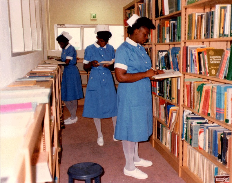 Student in the Library at the Bahamas School of Nursing