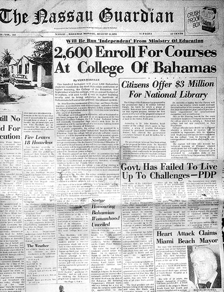 """Newspaper article in the <em>Nassau Guardian</em> dated 13 August, 1974 and entitled """"2,600 enroll for courses at College of The Bahamas"""""""