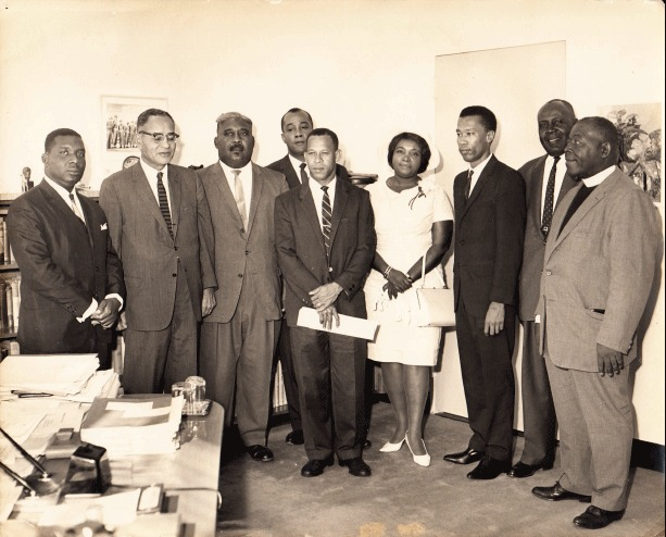 Photo includes: Rev. Dr. H.W.Brown, Clarence Bain, Arthur Foulkes, Doris Johnson, A. D Hanna, Cecil Wallace- Whitfield, Milo Butler, Lynden Pindling