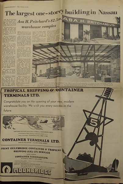 The largest one-storey building in Nassau newspaper article